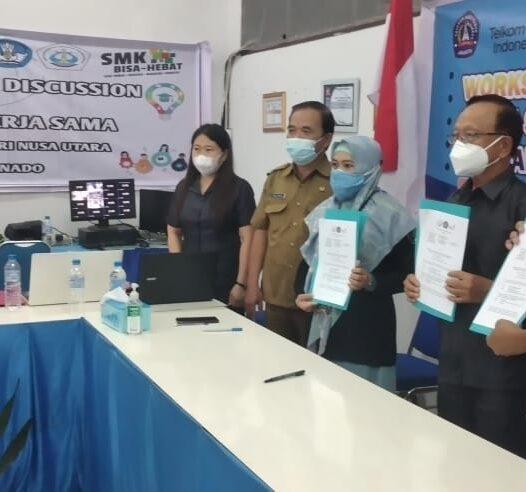 Penandatanganan Perjanjian Kerja Sama Polnustar, SMK Yadika Manado dan PT Telkom Manado